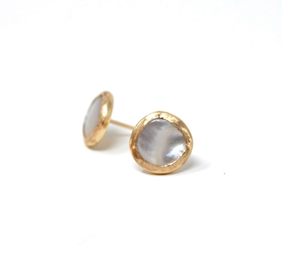 Free Form Mother of Pearl Post Earrings
