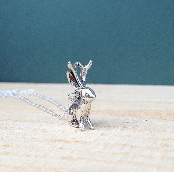Sterling Jackalope Necklace