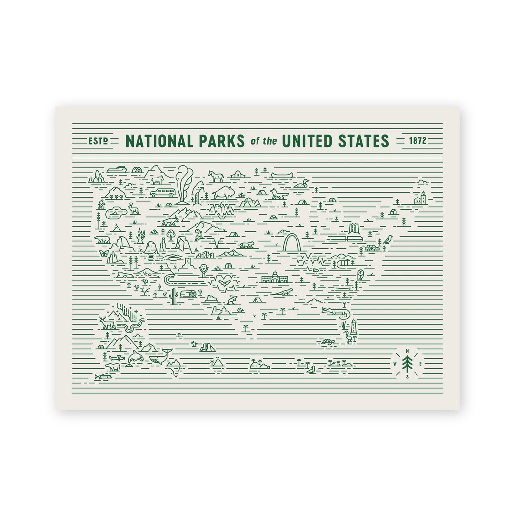 National Parks Illustrated Print