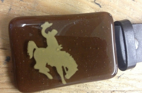 Brown & Gold Bronco Buckle
