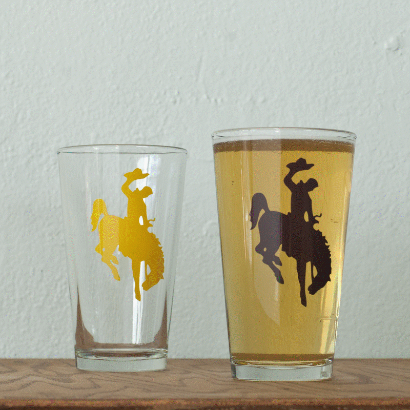 Bucking Bronco Pint Glass