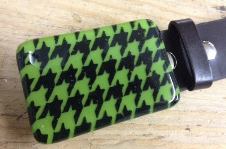 Pea Pod Green and Black Herringbone