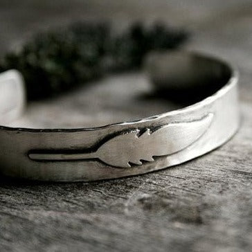 Sterling Silver Feather Cuff Bracelet