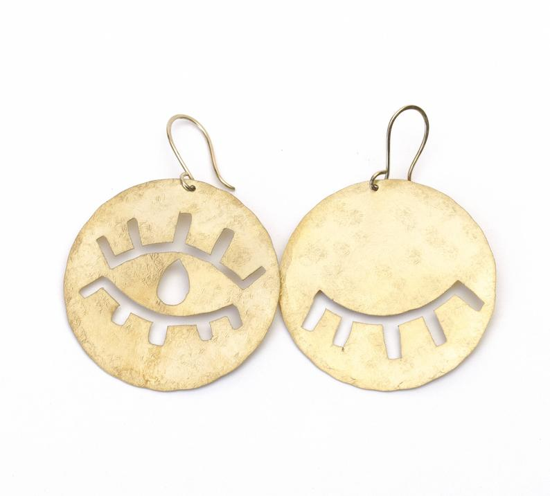 Open Close Eye Earrings