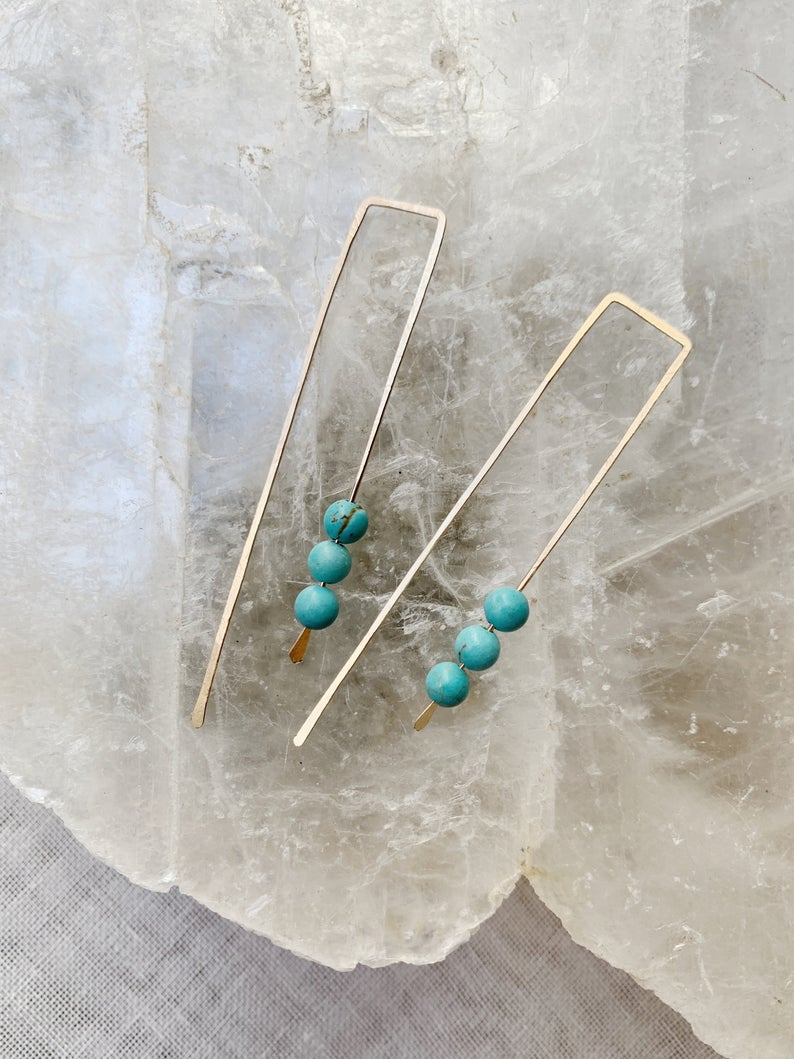 Long Hook Hoops Turquoise