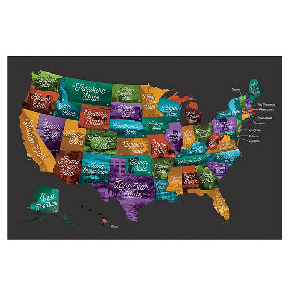 For Her Tagged Poster MADE - Scratch off us state maps with pencil