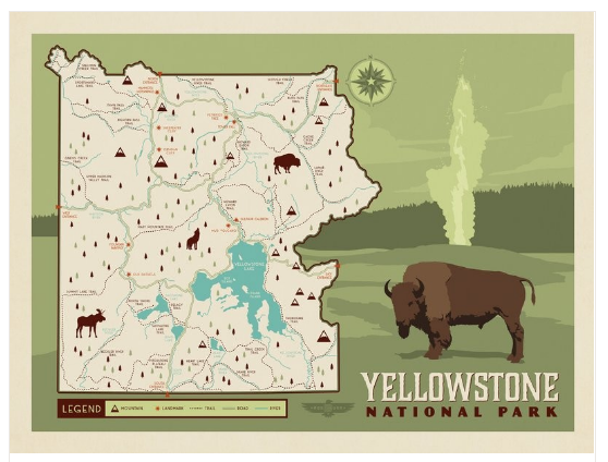 Map Of America Yellowstone National Park.Illustrated Yellowstone National Park Map