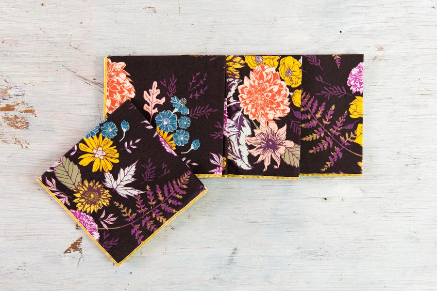 Burgundy Floral Cocktail Napkin Set