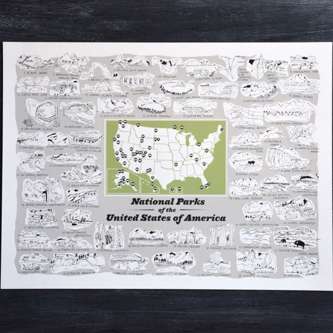 Illustrated National Parks Print