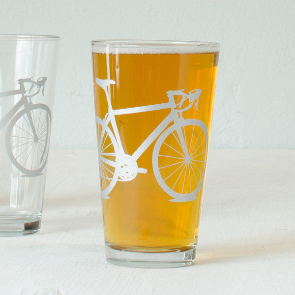 Bike Pint Glasses