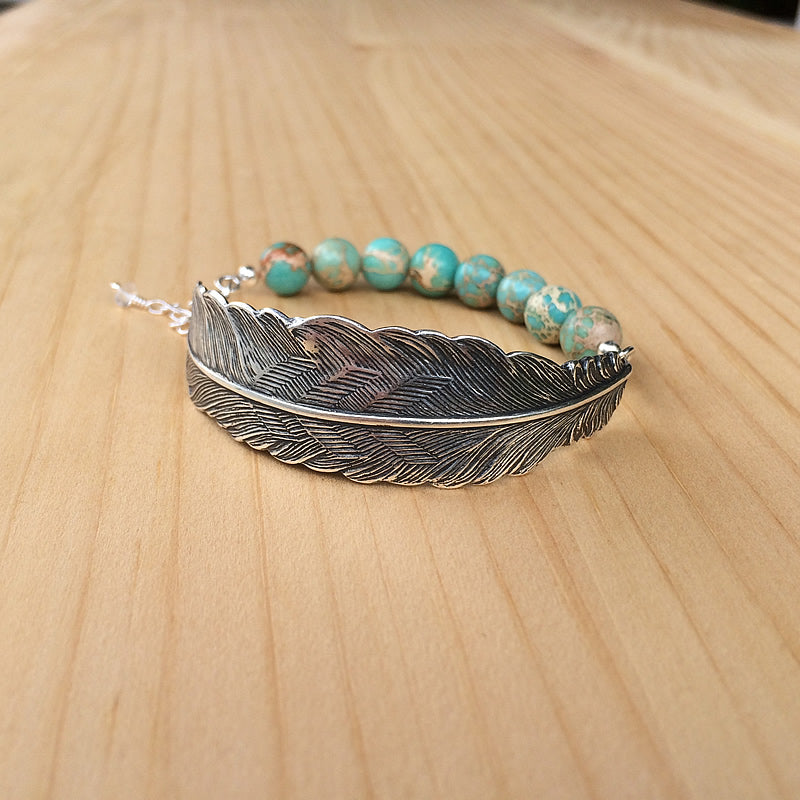 Feather with Beaded Turquoise