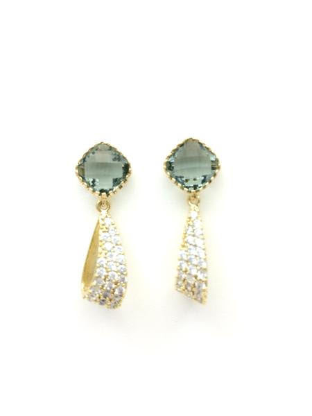 Charcoal Post Earrings with Crystal Pave Drop