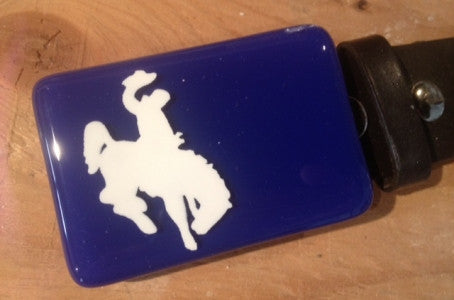 White Blue Bronc Buckle