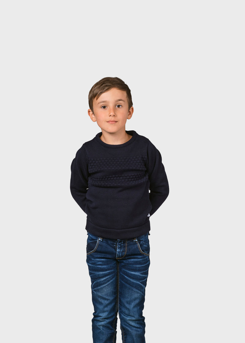 Klitmøller Collective ApS Kids fisher cotton knit Knitted sweaters Navy