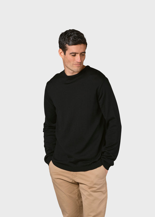 Klitmøller Collective ApS Mens basic merino knit Knitted sweaters Black