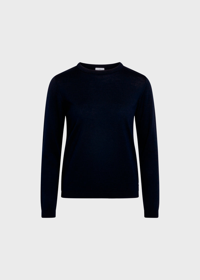 Klitmøller Collective ApS Womens basic merino knit Knitted sweaters Navy