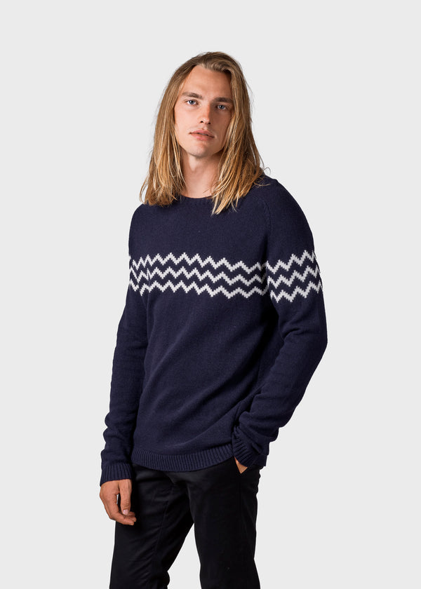 Klitmøller Collective ApS Samuel Knitted sweaters Navy/cream