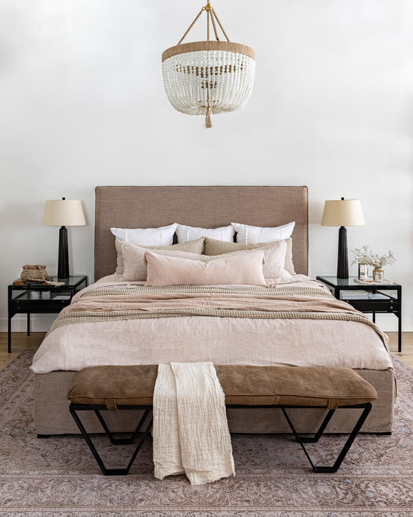 neutral bedroom with soft colour palette