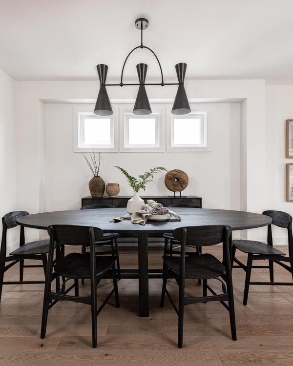 Dining room with black furniture