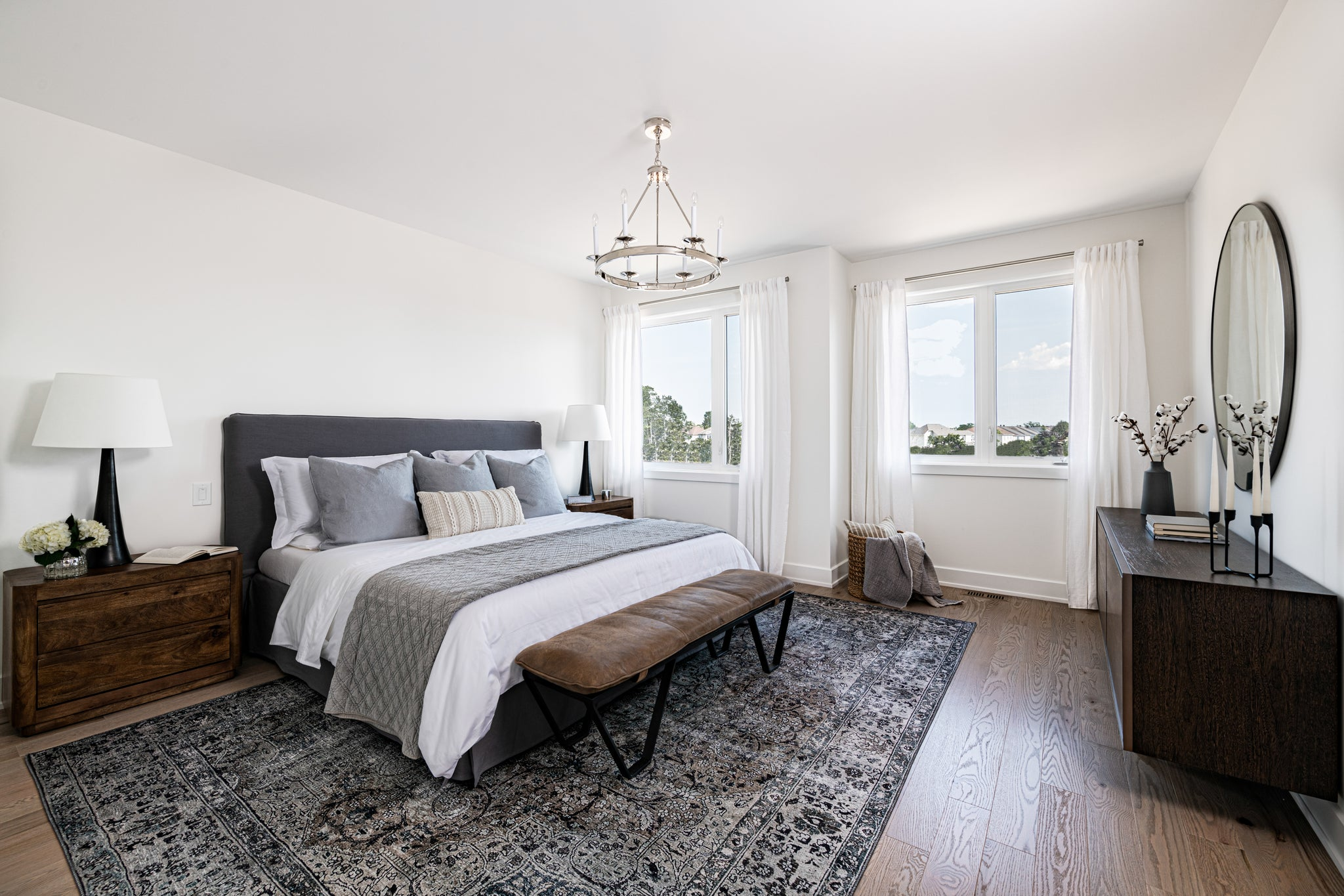 master bedroom with white walls, west of main, interior design