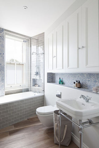 Bathroom view with tiles