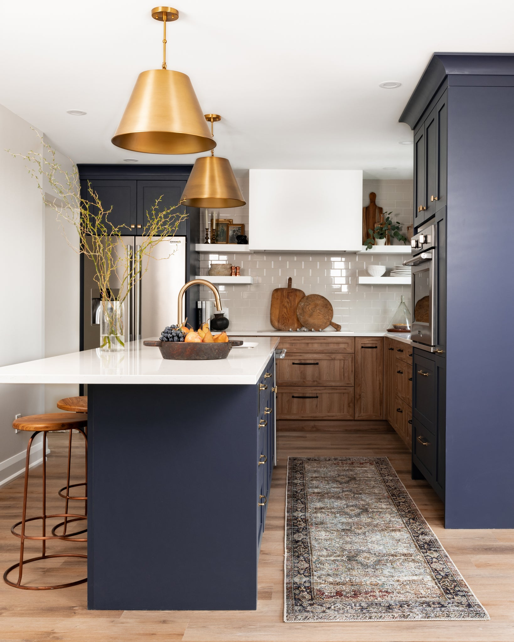 two toned navy and wood kitchen