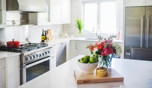 Kitchen vignette with flowers and apples