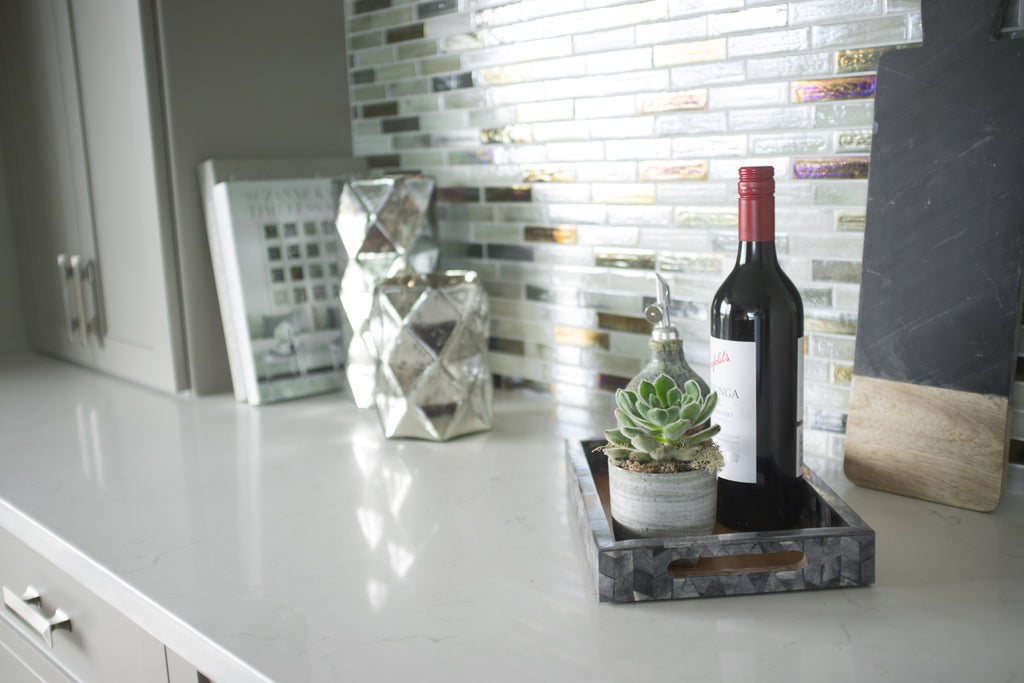 Kitchen counter with wine bottle