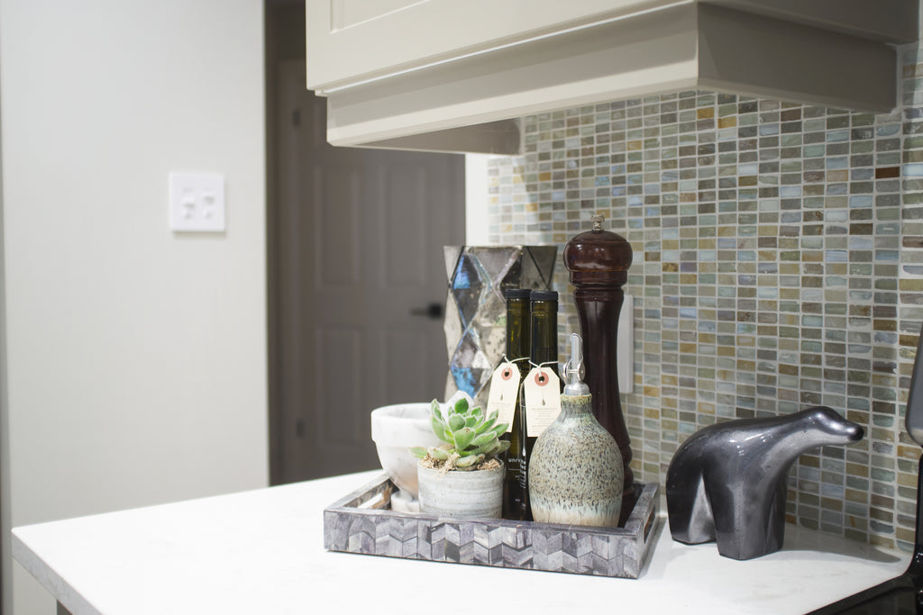 Kitchen counter with decorations