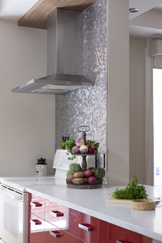 Heritage home kitchen design with silver penny tile backsplash
