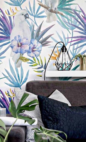 graphic wallpaper, tropical print