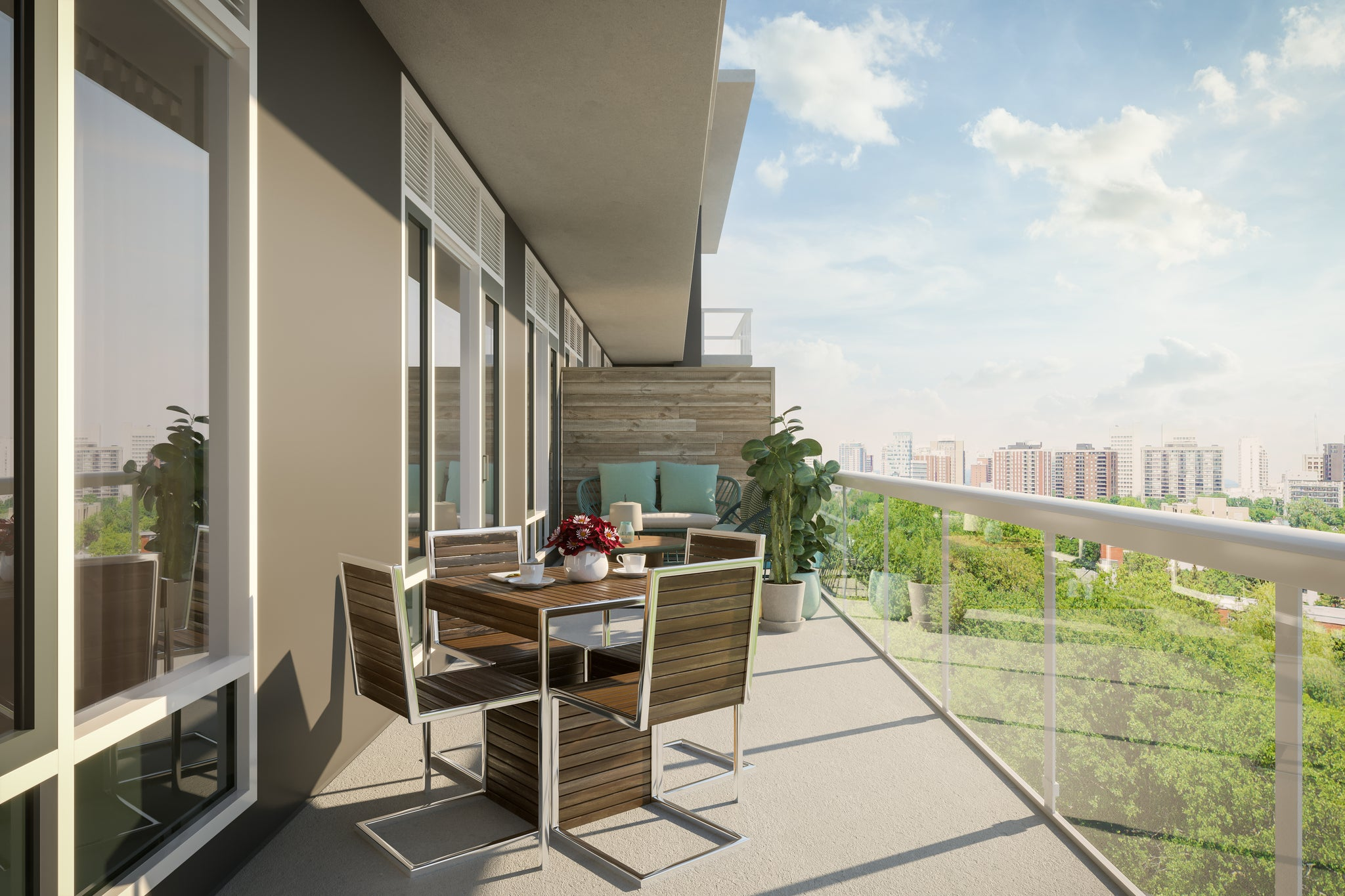 Condo 3D rendered design of outdoor patio space