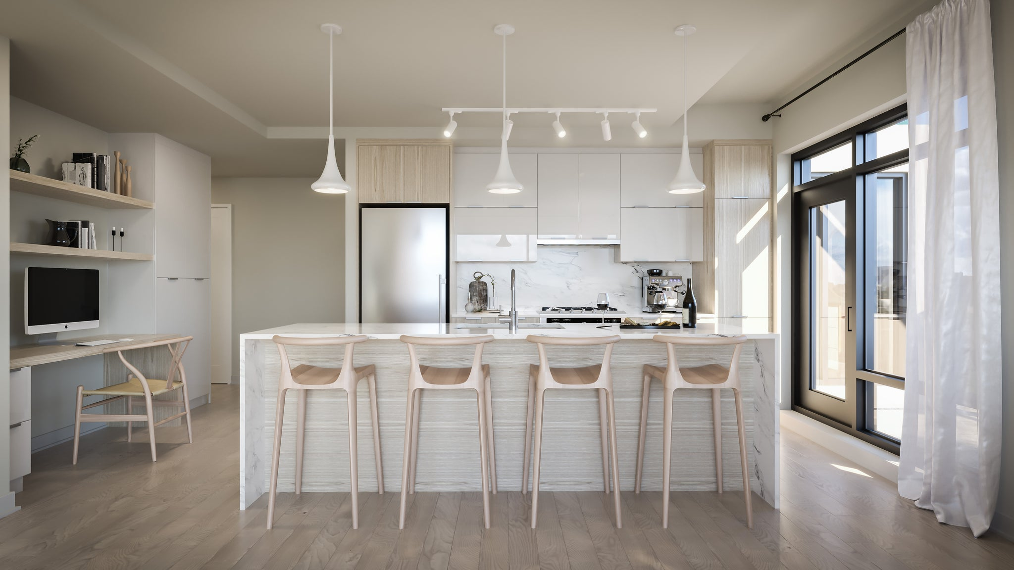 Kitchen Interior Design with island, barstools and pendant lights