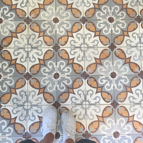 Close up on floor tiles