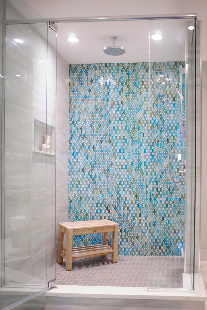 Riverside Condo colourful shower design