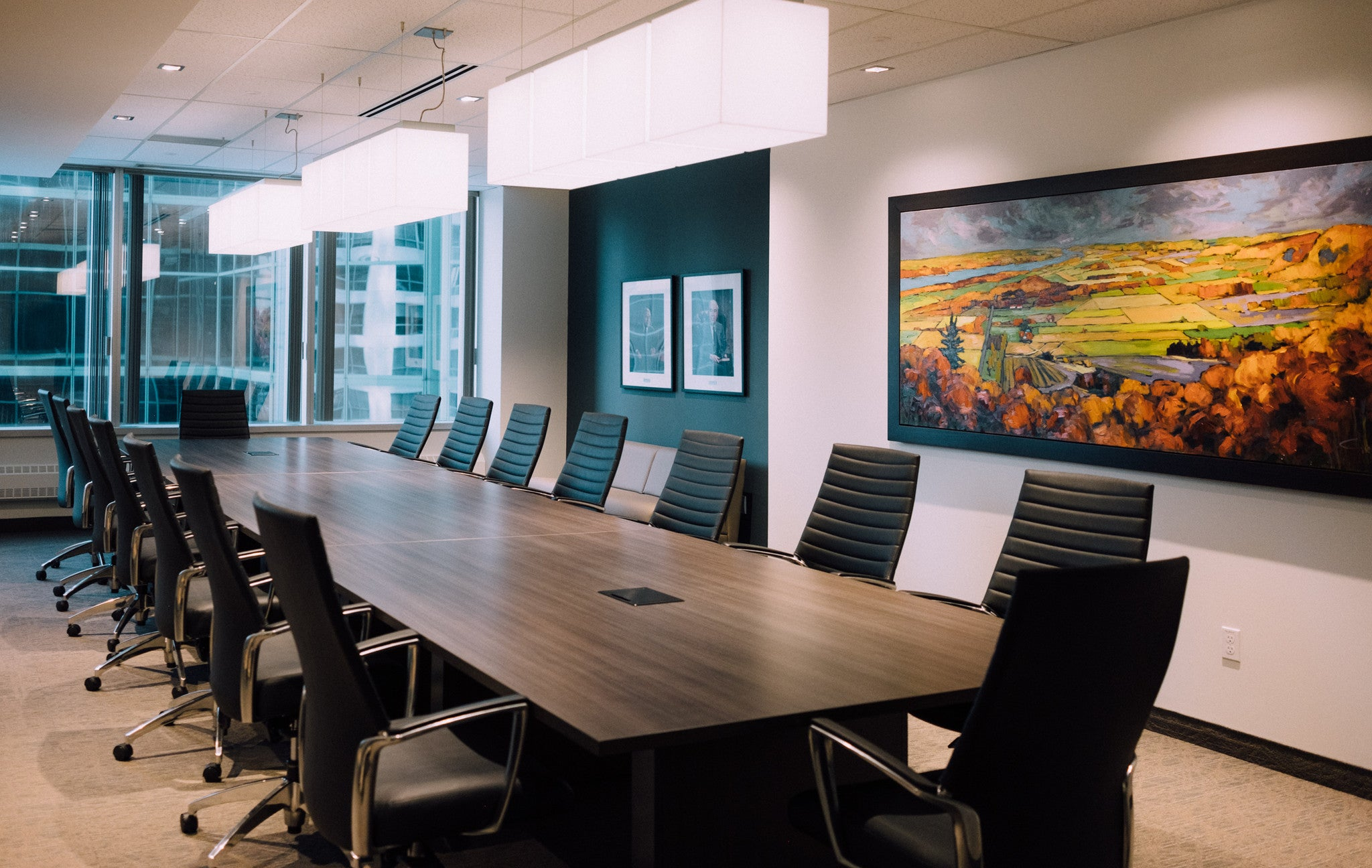 Board room interior design with long table and chairs