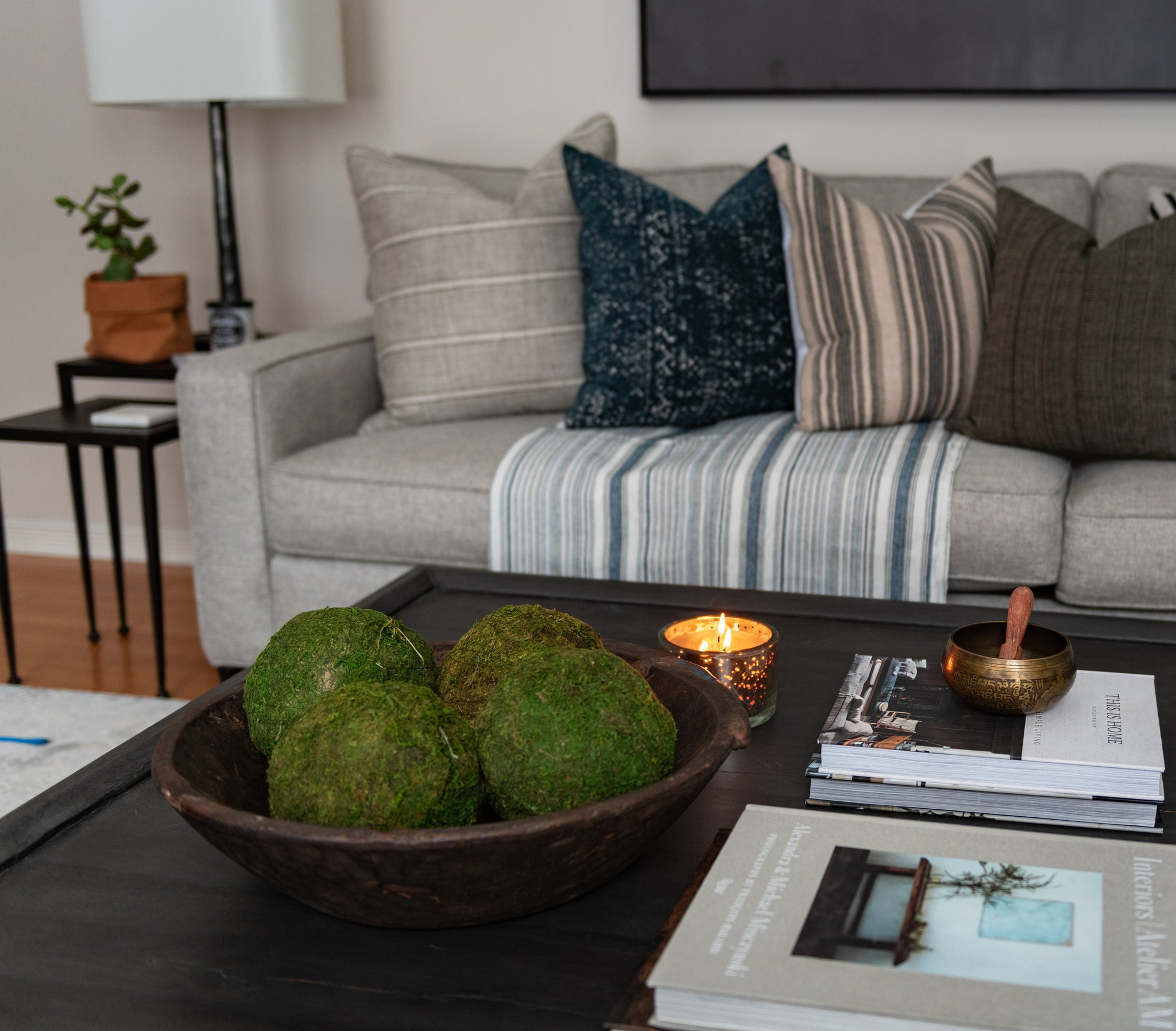 Living room coffee table close up interior design