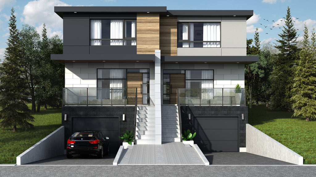 Tweedsmuir project 3D render townhouse front view.