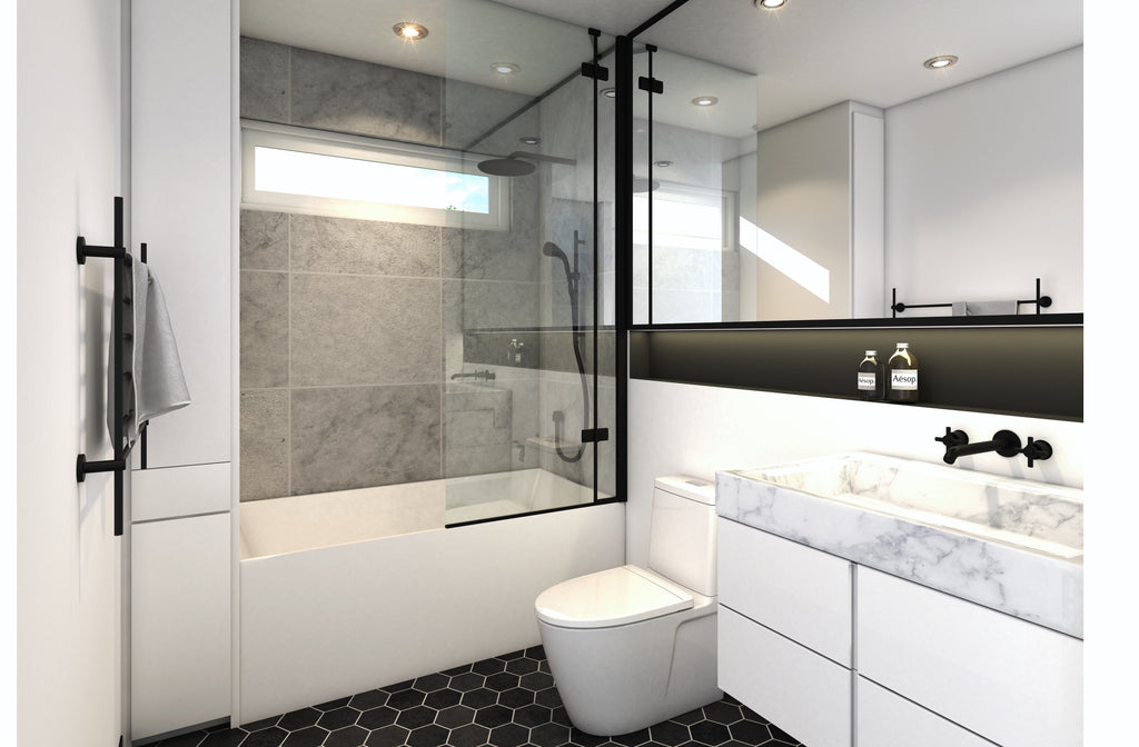 bathroom render shower sink toilet