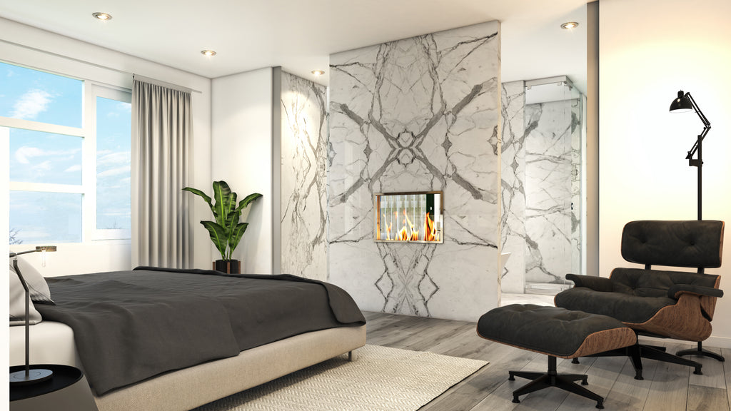 bedroom render bed marble wall chair