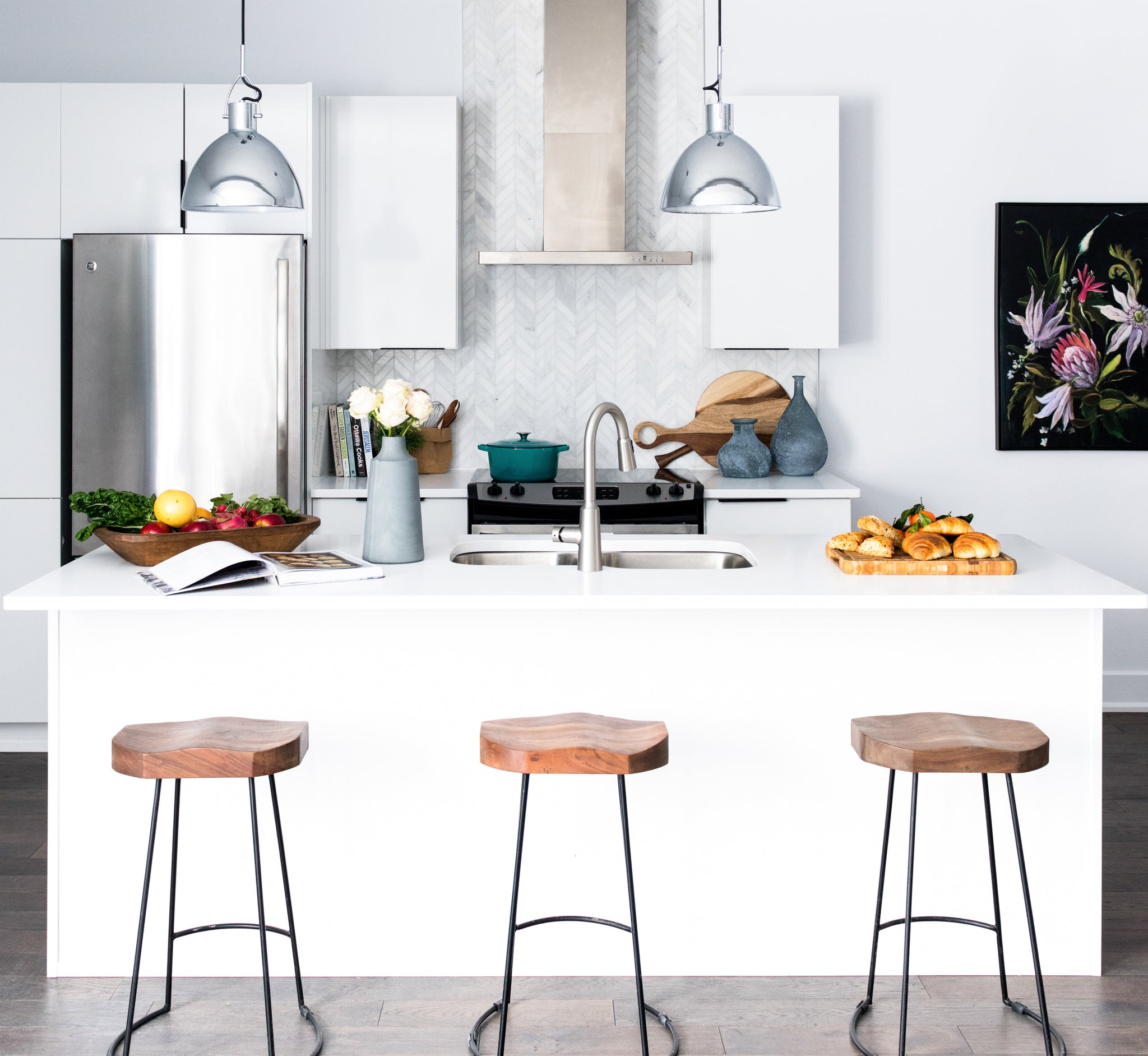 Kitchen vignette with island and barstools