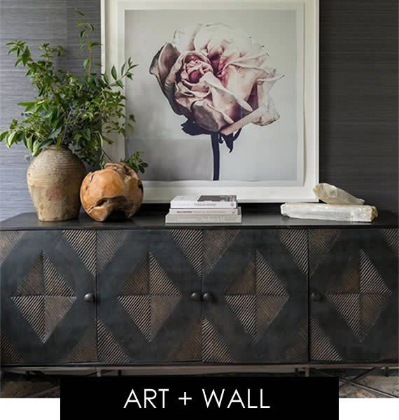 console table, art wall and decor
