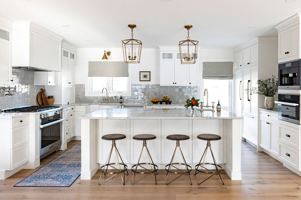 Classic White kitchen with gold accents