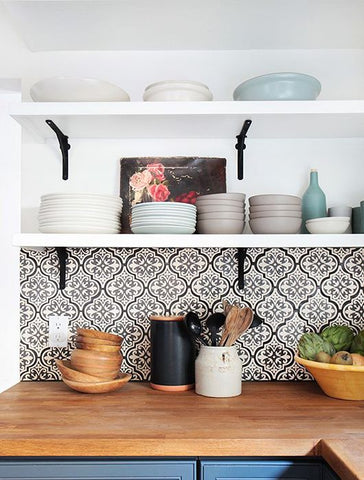 Kitchen shelves with plates and dishes