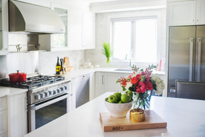 White Kitchen with fruits and flowers