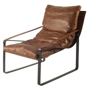 Hornet leather and metal arm chair