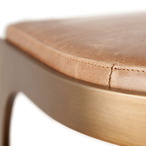 Tyson brass and leather counter stool detail