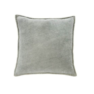 The grey Velvet Cushion is a stone-washed textured velvet with a blanket edge.