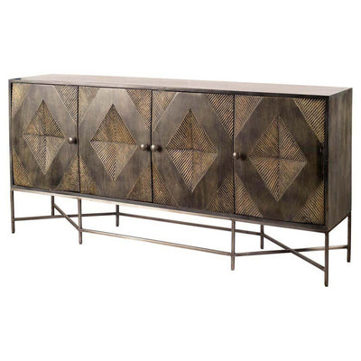 The Winslow II Sideboard has a carved diamond pattern on the front and an iron base.
