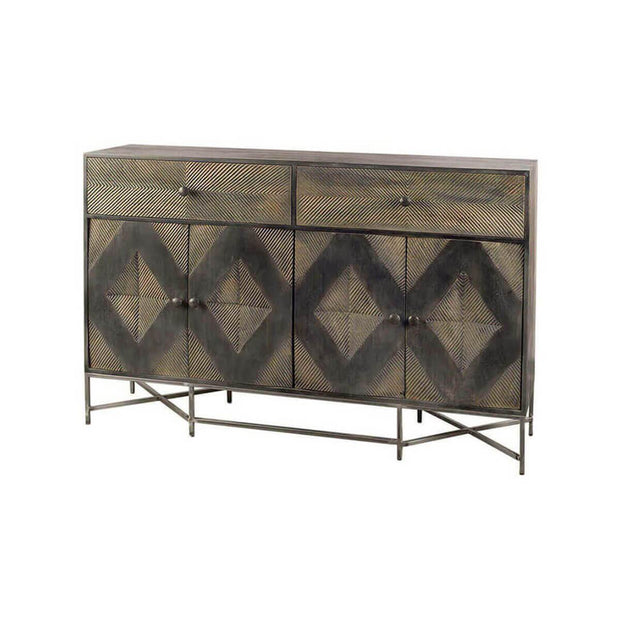 The Winslow Sideboard has a diamond pattern carved from dark and medium brown wood and metal frame.